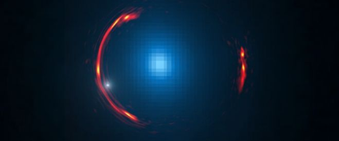 Composite image of the gravitational lens SDP.81 showing the distorted image of the more distant galaxy (red arcs) and the nearby lensing galaxy (blue center object). By analyzing the distortions in the ring, astronomers have determined that a dark dwarf galaxy (data indicated by white dot near left lower arc segment) is lurking nearly 4 billion light-years away. (Image credit: Y. Hezaveh; ALMA)